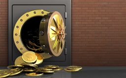 monete del dollaro 3d sopra i mattoni rossi Fotografie Stock