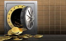 monete del dollaro 3d sopra la parete dorata Immagine Stock Libera da Diritti