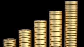 Monete del dollaro dell'oro impilate per fare un palo tracciare una carta della mostra dell'aumento stabile illustrazione di stock