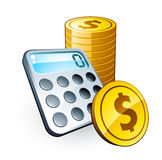 Monete del dollaro e del calcolatore illustrazione di stock