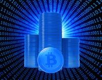 Monete del pezzo, la valuta virtuale Fotografie Stock