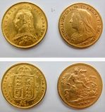 Monete del sovreign dell'oro della regina Victoria mezze fotografia stock libera da diritti
