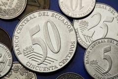 Monete dell'Ecuador Immagine Stock