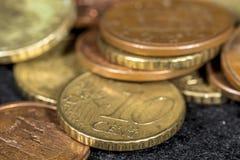 Monete dell'euro del centesimo Fotografie Stock Libere da Diritti