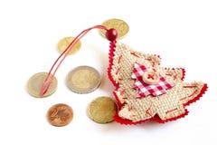 Monete dell'euro dell'albero di Natale Fotografia Stock