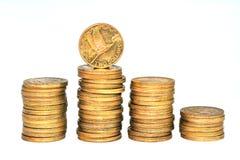 Monete della banca del dollaro di Nuova Zelanda Fotografia Stock