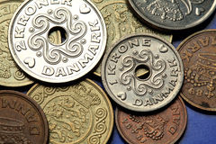 Monete della Danimarca Fotografia Stock Libera da Diritti