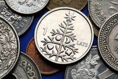 Monete della Lettonia fotografie stock libere da diritti
