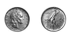 Monete della Lira italiana Immagini Stock