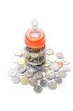 Monete della Malesia in biberon Fotografia Stock Libera da Diritti