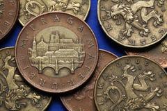 Monete della repubblica Ceca immagini stock