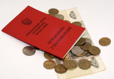 Soldi e sertificate di pensione immagine stock