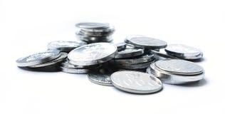 Monete della rupia su fondo bianco Fotografia Stock