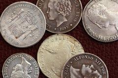 Monete della spagna di diciottesimo e diciannovesimo secolo vecchie Fotografie Stock Libere da Diritti