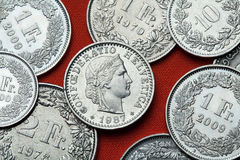 Monete della Svizzera Testa di Libertas Immagine Stock