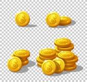 Monete delle icone per l'interfaccia del gioco Fotografie Stock