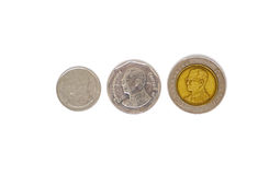 Monete di baht della Tailandia isolate Immagine Stock Libera da Diritti