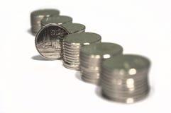 Monete di baht isolate su bianco Immagine Stock