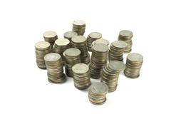 Monete di baht tailandese su fondo bianco Fotografia Stock Libera da Diritti