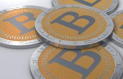 Monete di Bitcoin Fotografie Stock
