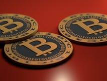 Monete di Bitcoin Fotografia Stock