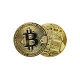 Monete di Bitcoin isolate su bianco Fotografia Stock