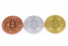 Monete di Bitcoins Immagine Stock Libera da Diritti