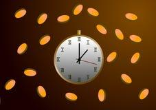 Monete di caduta e degli orologi Immagini Stock