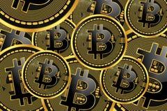 Monete di cryptocurrency di Bitcoin Fotografia Stock Libera da Diritti