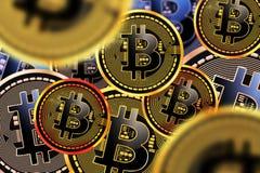 Monete di cryptocurrency di Bitcoin Immagine Stock