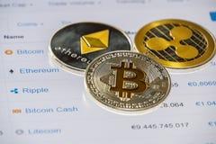 Monete di Cryptocurrency sopra la lista del cappuccio del mercato; Bitcoin, Ethereum Fotografia Stock
