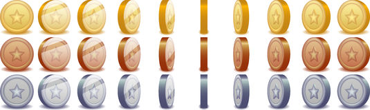 Monete di filatura Fotografia Stock