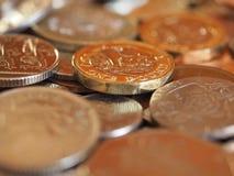 Monete di libbra, fondo del Regno Unito fotografie stock