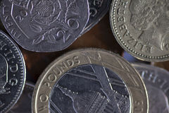 Monete di libbra inglesi Immagini Stock Libere da Diritti