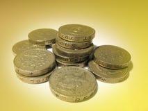 Monete di libbra inglesi Fotografia Stock Libera da Diritti