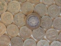 Monete di libbra, Regno Unito Immagini Stock