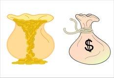 Monete di oro in borsa Immagine Stock Libera da Diritti