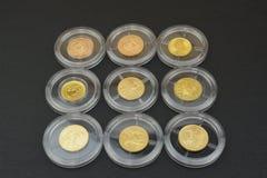 Monete di oro in capsule di plastica Immagine Stock