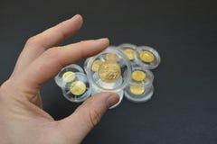 Monete di oro in capsule di plastica Immagini Stock