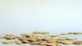 Monete di oro che cadono giù sul fondo bianco, concetto di affari di crescita, 4K, UHD stock footage