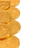 Monete di oro del cioccolato Fotografie Stock Libere da Diritti