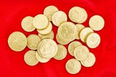 Monete di oro del cioccolato Immagine Stock