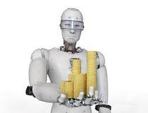 Monete di oro della tenuta del robot di Android fotografia stock libera da diritti