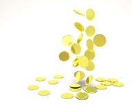 Monete di oro di caduta Fotografia Stock