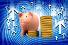 Monete di oro e della banca Piggy Fotografia Stock Libera da Diritti