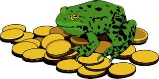 Monete di oro e della rana Fotografie Stock Libere da Diritti