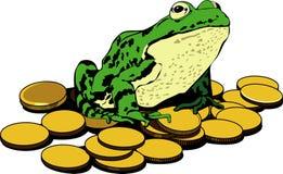 Monete di oro e della rana Immagini Stock