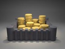 Monete di oro fortificate royalty illustrazione gratis