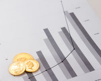 Monete di oro sui grafici finanziari Fotografia Stock Libera da Diritti