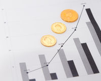 Monete di oro sui grafici finanziari Immagini Stock